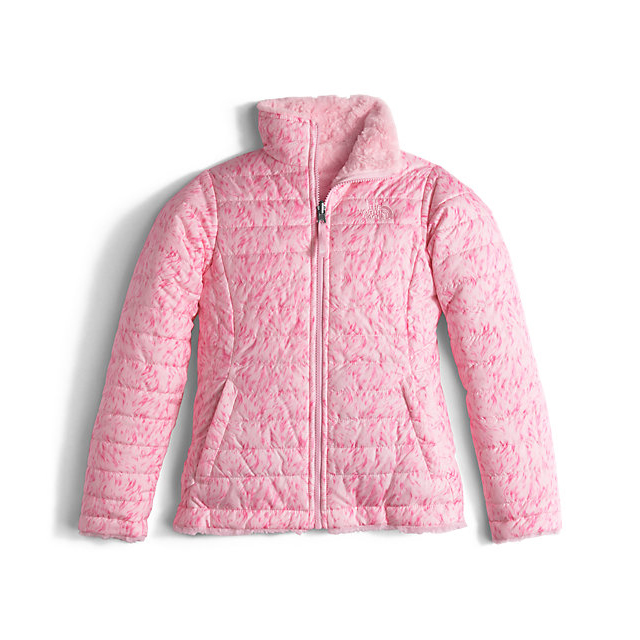 CHEAP NORTH FACE GIRLS' REVERSIBLE MOSSBUD SWIRL JACKET COY PINK FUR PRINT ONLINE