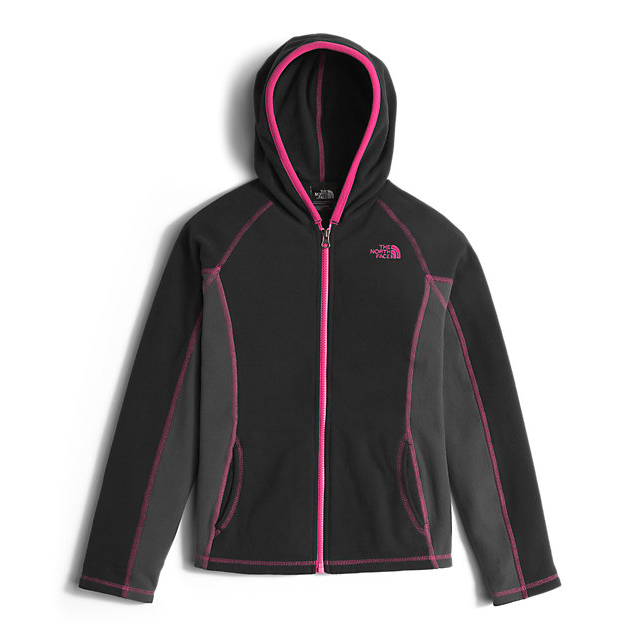 CHEAP NORTH FACE GIRLS' GLACIER FULL ZIP HOODIE BLACK/CABARET PINK ONLINE