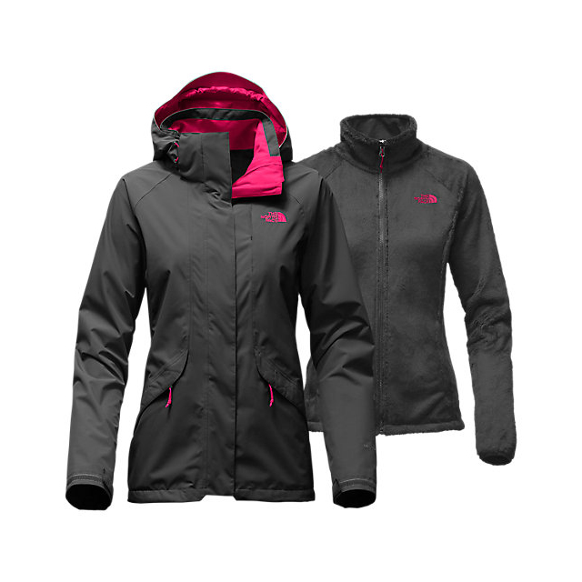 CHEAP NORTH FACE WOMEN'S BOUNDARY TRICLIMATE  JACKET ASPHALT GREY/CERISE PINK ONLINE